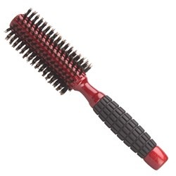 Brushworx Red Rubber Grip Boar Bristle Radial Hair Brush - Medium