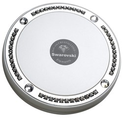 Taylor Madison Large Deluxe Round Compact Mirror - Pearl White