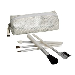 Make Me Up Pearl White Python Cosmetic Brush Set, 5pc