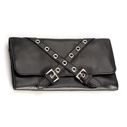Equipment Pouch Leatherette D Black With Stud Rings