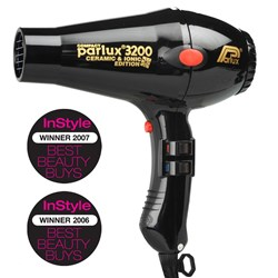 Parlux 3200 Ionic + Ceramic Compact Hair Dryer - Black