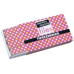 Tweezerman Matchbox Itty Bitty Polka Dot Files – Pink