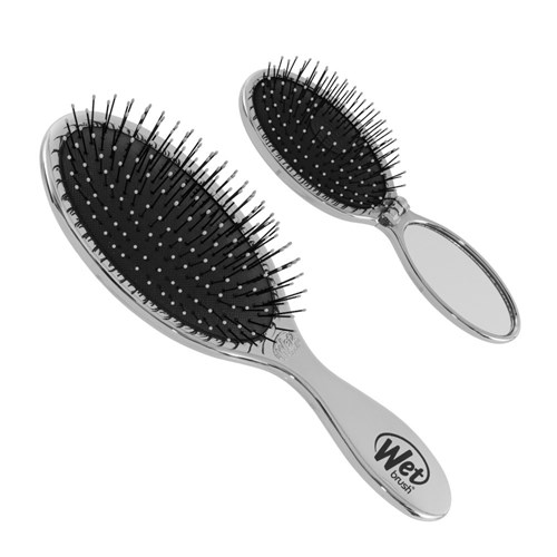 WetBrush Detangler and Mini Pop Fold Set Silver
