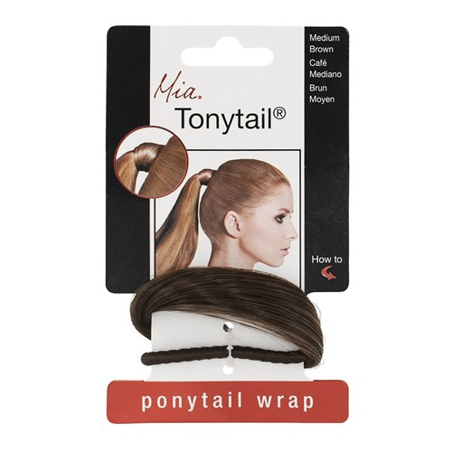 Mia Tonytail Ponytail Hair Wrap, Medium Brown
