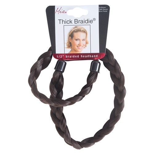 Mia Thick Braidie 13mm Braided Faux Headband, Dark Brown