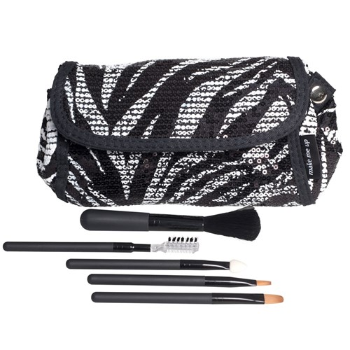 Make Me Up Zebra Sequin Makeup Purse and Brush Set