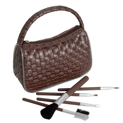 Make Me Up Dark Brown Weave Cosmetic Brush Set, 6pc