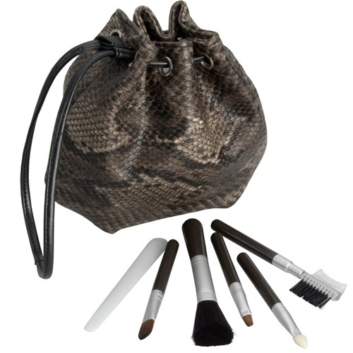Make Me Up Brown Python Cosmetic Brush Set, 6pc