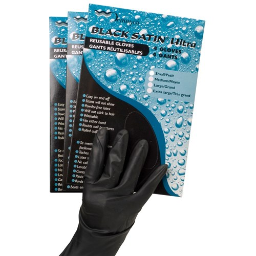 Black Satin Ultra Reusable Gloves - XLarge, 4pk