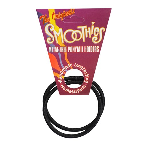 Smoothies Metal-Free Black Ponytail Holders - 2pk