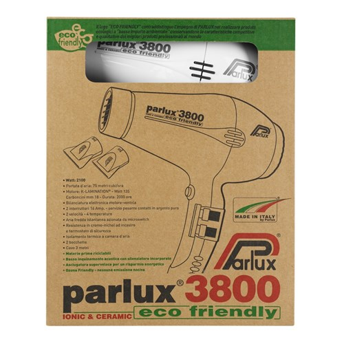 Parlux 3800 Ionic and Ceramic Hair Dryer - White