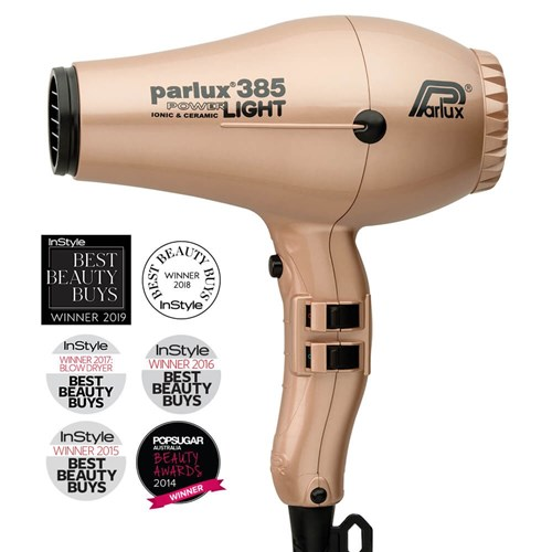 Parlux 385 Power Light Ceramic and Ionic Hair Dryer, Light Gold