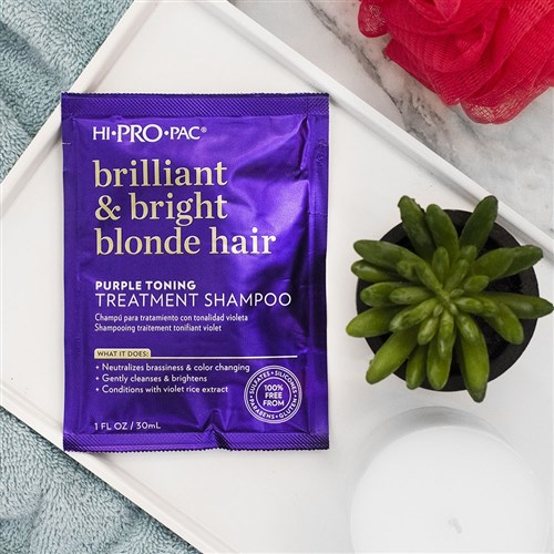 Hi Pro Pac Brilliant and Bright Blonde Hair Purple Toning Shampoo 12pc